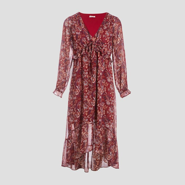 Robe longue évasée rouge femme