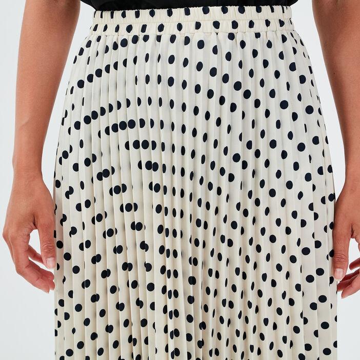 Jupe longue évasée plissée blanc femme
