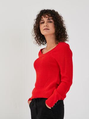 Pull avec details ajoures rouge femme