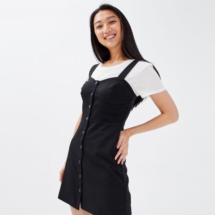 Robe trapèze boutonnée noir femme