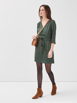 Robe droite manches 34 vert femme