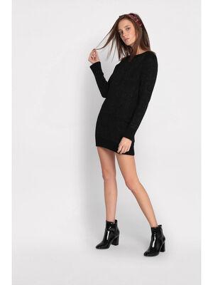 Robe pull ajustee noir femme