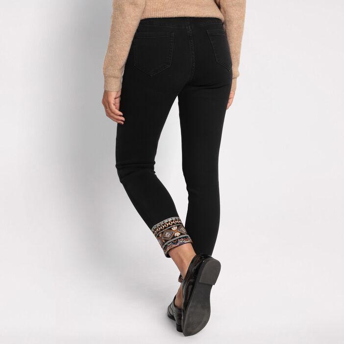 Jeans skinny 7/8 brodé denim noir femme
