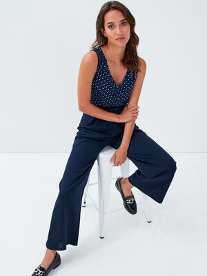 Pantalon large a ceinture bleu marine femme