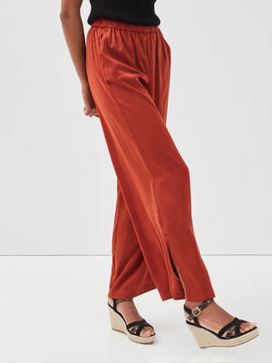 Pantalon large taille haute terracotta femme