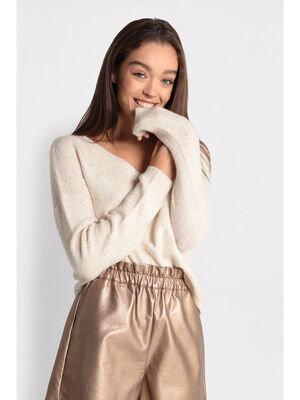 Pull manches longues a sequins beige femme