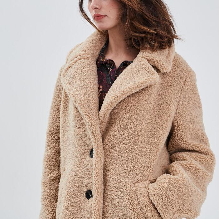 Manteau droit effet pelucheux beige femme