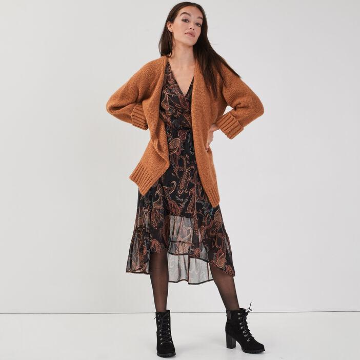 Robe longue évasée asymétrique violet foncé femme