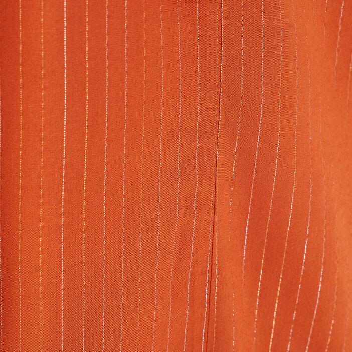 Robe longue évasée marron cognac femme