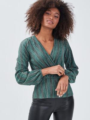 T shirt manches longues plisse vert pastel femme