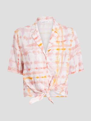 Chemise manches courtes rose saumon femme
