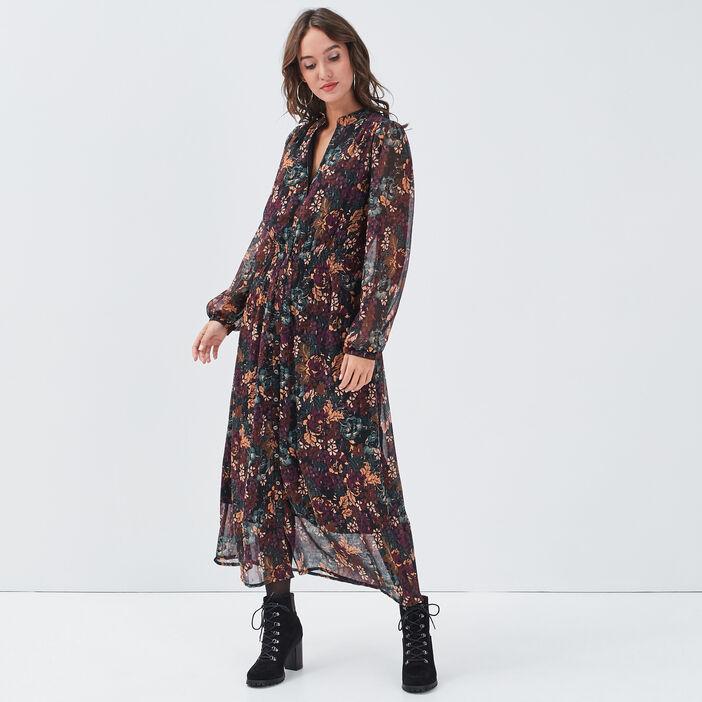 Robe longue évasée smockée noir femme