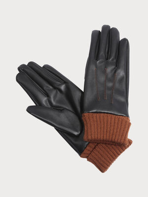 Gants poignet en tricot noir femme
