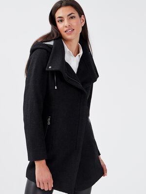 Manteau cintre asymetrique noir femme