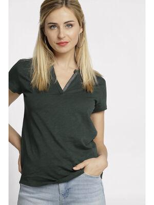 T shirt col tunisien vert fonce femme