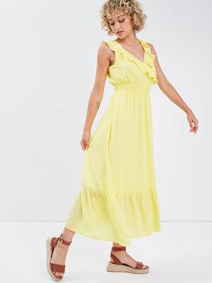 Robe longue evasee volantee jaune pastel femme