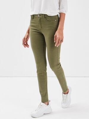Jeans skinny push up vert olive femme