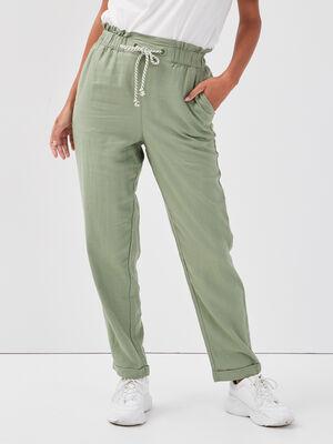 Pantalon carotte lin vert femme