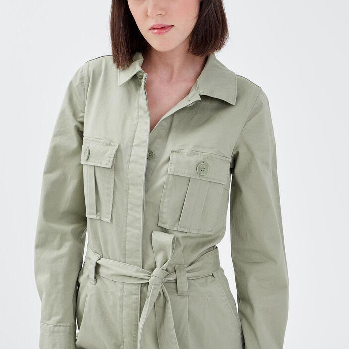 Combinaison pantalon ceinturée vert clair femme