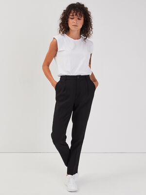 Pantalon city avec pinces noir femme