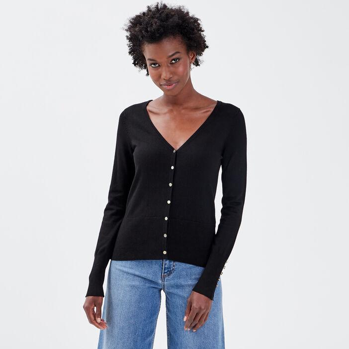 Gilet boutonné noir femme