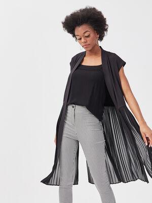 Veste droite fluide plissee noir femme