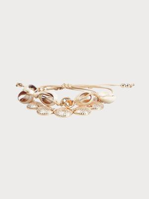 Set de bracelets coquillage couleur or femme
