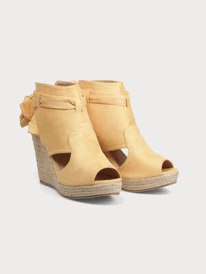 Sandales compensees avec noeud jaune femme