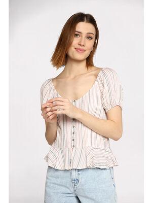 Blouse manches courtes ballon blanc femme