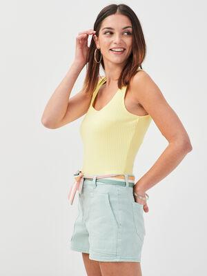 Debardeur bretelles larges jaune fluo femme