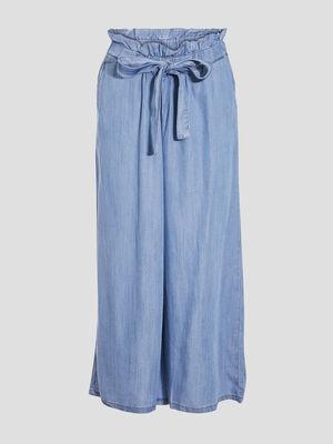 Pantalon ample fluide denim double stone femme