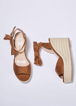 Sandales a talons compenses camel femme