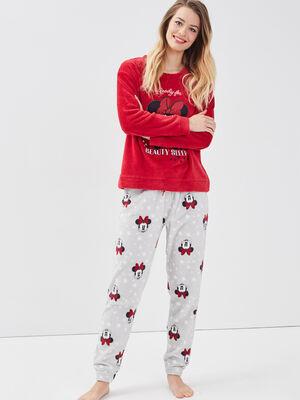 Ensemble pyjama Minnie rouge fluo femme