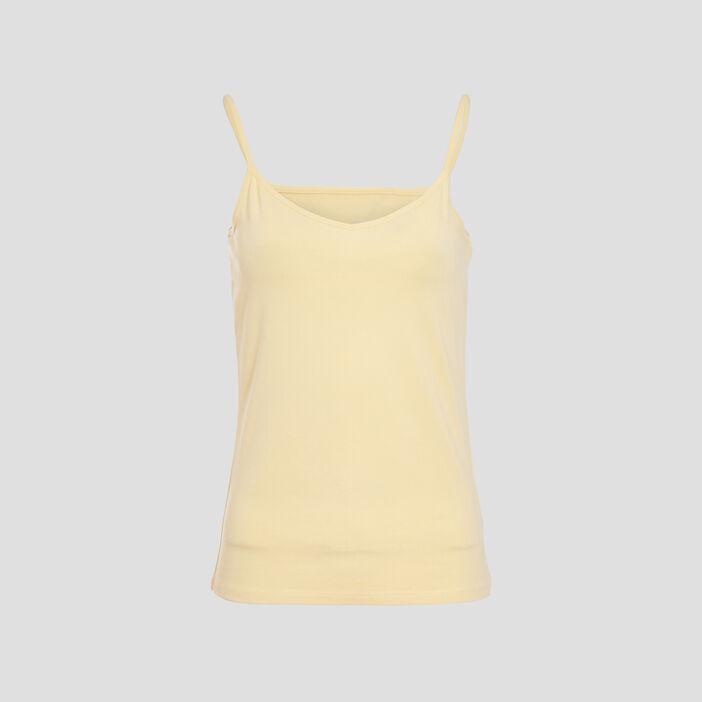 Débardeur bretelles fines jaune pastel femme
