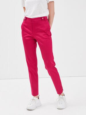 Pantalon cigarette rose framboise femme