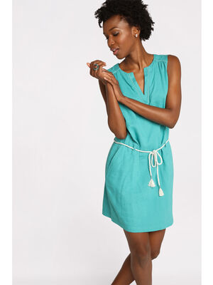 Robe courte droite ceinture bleu turquoise femme