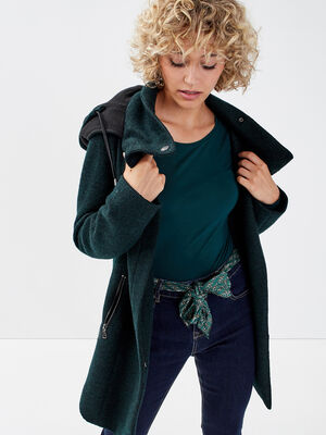 Manteau cintre asymetrique bleu fonce femme