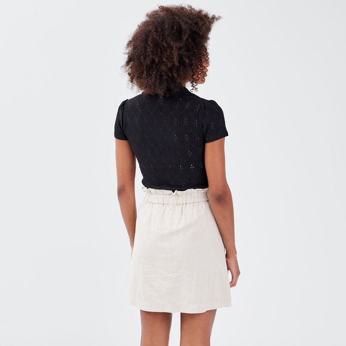 Polo manches courtes noir femme