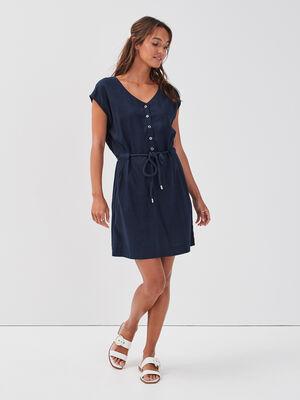 Robe droite lin bleu marine femme