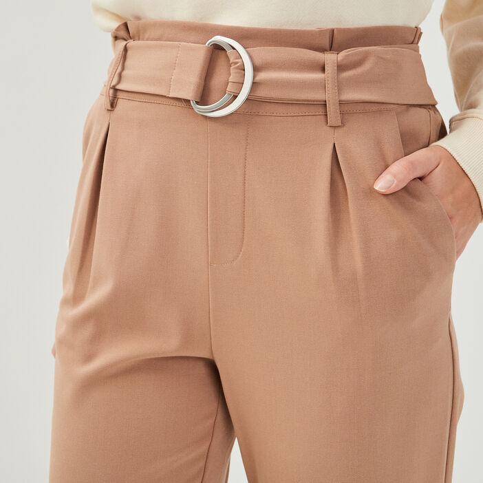 Pantalon paperbag fluide camel femme
