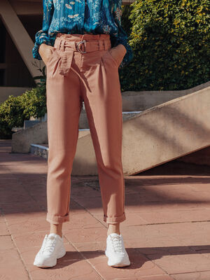 Pantalon paperbag pinces rose poudree femme