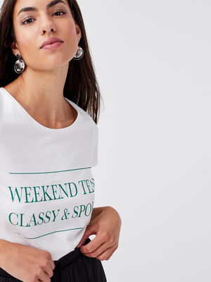 T shirt ajuste a message ivoire femme