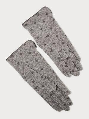 Gants tricotes gris clair femme