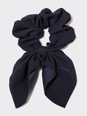 Chouchou avec noeud bleu marine femme
