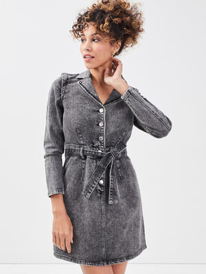 Robe droite ceinturee en jean denim gris femme