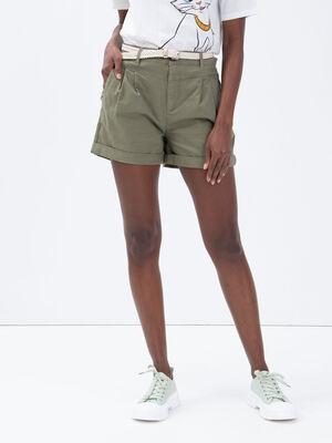 Short chino ceinture vert kaki femme