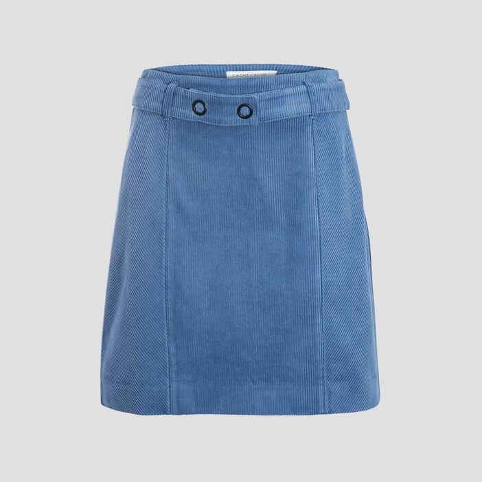 Jupe évasée velours bleu femme