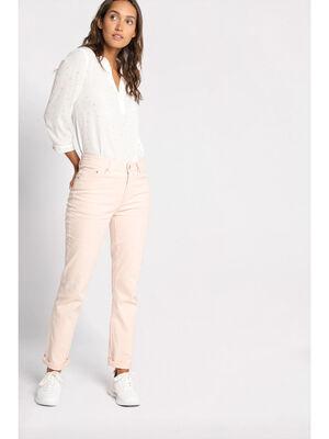Jeans droit rose clair femme