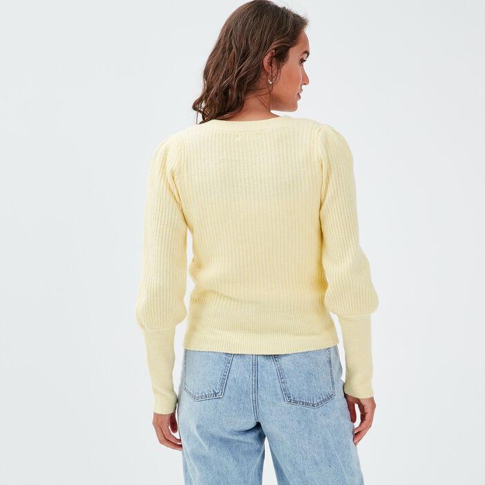 Gilet boutonné jaune pastel femme