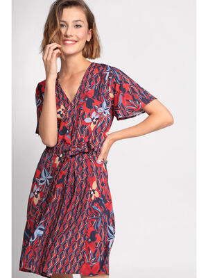 Robe evasee col effet croise rouge femme